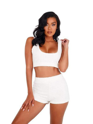 Roma X-Small / White White Fuzzy Shorts Set SHC-LI412-Wht-XS White Fuzzy Shorts Set | ROMA COSTUME LI412 Apparel & Accessories > Clothing > One Pieces > Jumpsuits & Rompers