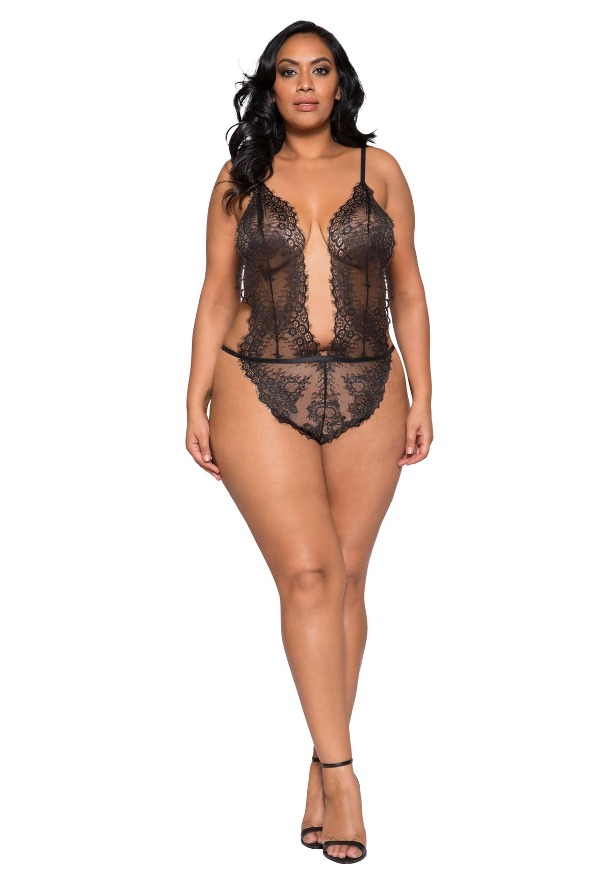 Roma XL / Black Black Plus Size Low Plunge High Leg Teddy (Beige also available) SHC-LI257-XL Black Plus Size Plunge Eyelash Teddy | Roma Costume LI257Q LI258Q Apparel & Accessories > Clothing > One Pieces > Jumpsuits & Rompers