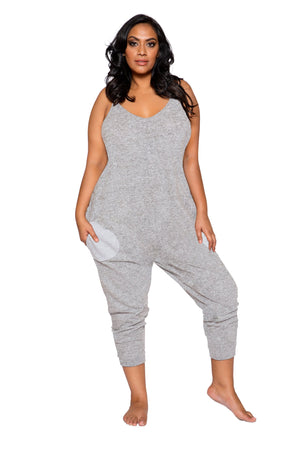 Roma XL/XXL / Grey Grey Plus Size Pajama Jumpsuit w/ Pockets (Black also available) SHC-LI294-GREY-XL/XXL Black Grey Plus Size Pajama Jumpsuit w/ Pockets | ROMA COSTUME LI294 Apparel & Accessories > Clothing > One Pieces > Jumpsuits & Rompers