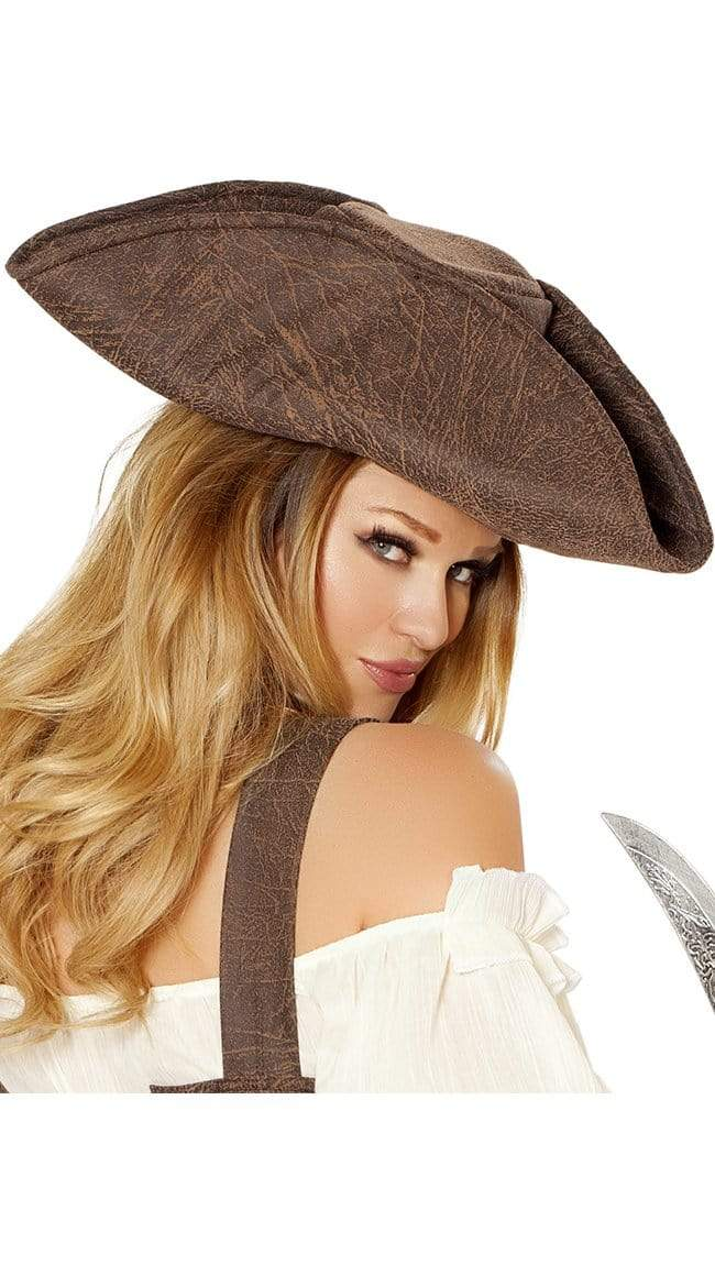 Roma BROWN / One Size UNISEX PIRATE MAIDEN HAT SHC-H4575-R Apparel & Accessories > Clothing > Pants