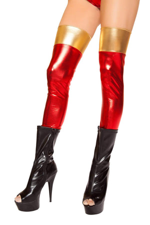 Roma MULTI COLORED / One Size Metallic Wet Look Red & Gold Thigh High Stockings SHC-ST10055-R Apparel & Accessories > Clothing > Pants