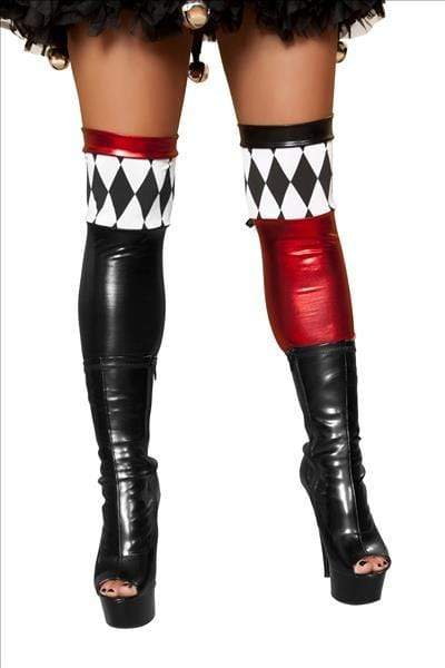 Roma PRINT / One Size Metallic Wet Look Red & Black Jester Thigh High Stockings SHC-ST4370-R Apparel & Accessories > Clothing > Pants