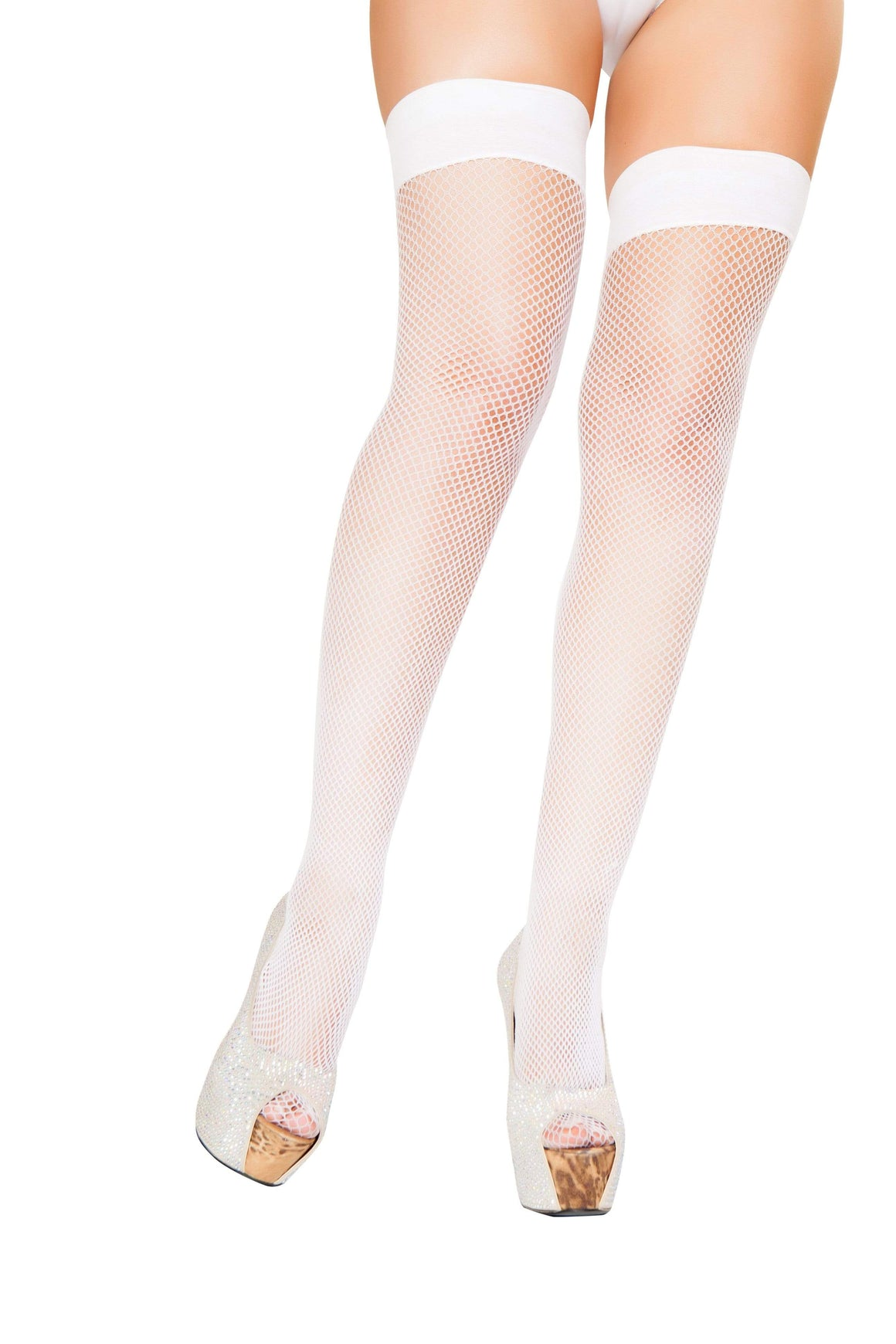 Roma White / One Size White Fish Net Silicone Band Lace Top Thigh High Stockings SHC-ST102-R Apparel & Accessories > Clothing > Pants