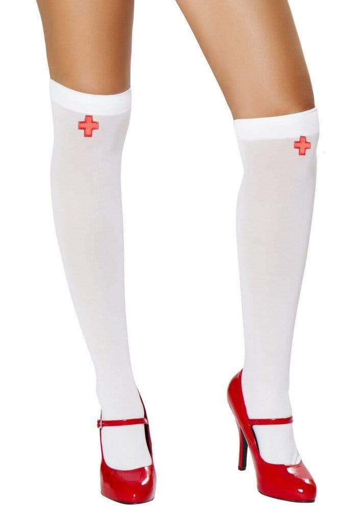 Roma White/Red / One Size Nurse Stockings With Cross SHC-ST4758-R Apparel & Accessories > Clothing > Pants