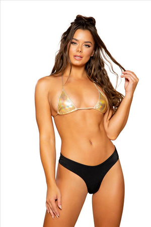 Roma One Size / Gold Gold Metallic Foil Triangle Bikini Top SHC-3763-GOLD-OS Apparel & Accessories > Clothing > Shirts & Tops