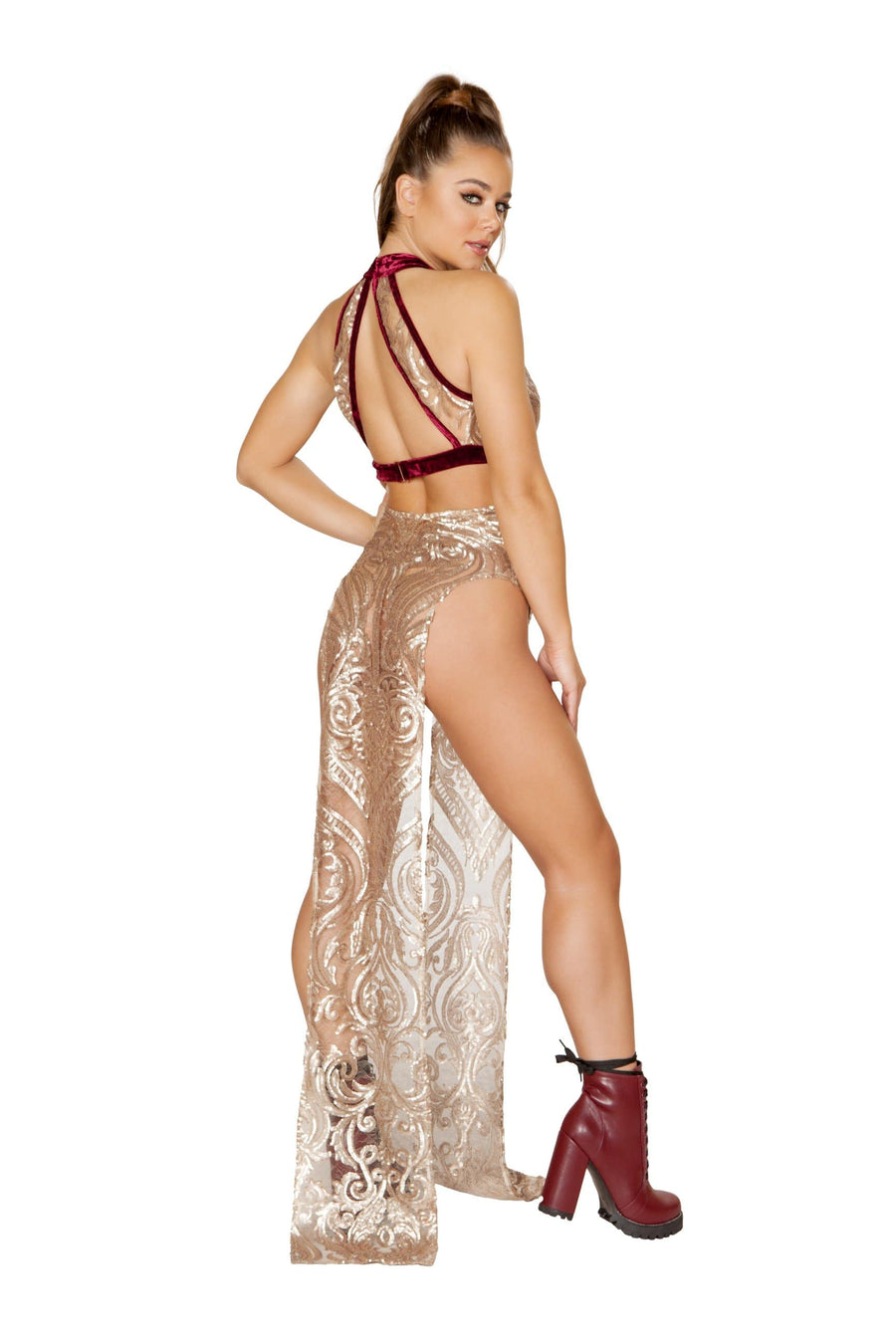 Roma Small / Red Rose Gold 1pc Sequin Top w/ Large Keyhole SHC-3596-RED-S Rose Gold 1pc Sequin Keyhole Top | ROMA COSTUME 3596 Apparel & Accessories > Clothing > Shirts & Tops