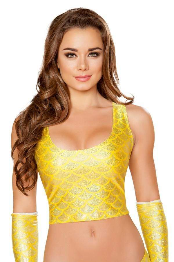 Roma S/M / Yellow Yellow Mermaid Cropped Top SHC-T3314-GOLD-S/M Yellow Mermaid Cropped Top Festival Dance | ROMA COSTUME T3314 Apparel & Accessories > Clothing > Shirts & Tops