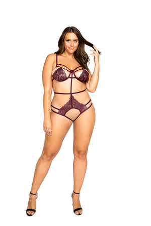 Roma Extra Large / Red Plum Plus Size Strappy Crotchless Teddy SHC-LI325-PLUM-XL-R Plum Plus Size Strappy Crotchless Teddy | ROMA COSTUME LI325 Apparel & Accessories > Clothing > Underwear & Socks > Lingerie