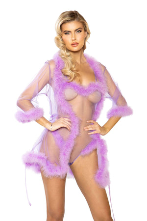 Roma One Size / Lavender Sheer Marabou Robe SHC-LI386-L-OS-R Apparel & Accessories > Clothing > Underwear & Socks > Lingerie
