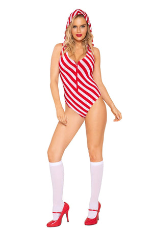 Roma Sassy Red & White Stripe Candy Cane Cutie w/ Hoodie Red & White Stripe Candy Cane Cutie Roma C193 | SHOP NOW | SoHot Clubwear Apparel & Accessories > Clothing > Underwear & Socks > Lingerie