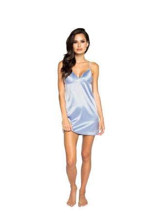 Roma Small / Pearl Blue Pearl Blue Soft Satin Chemise (Plus Size & Pink color also available) SHC-LI370-PB-S-R Apparel & Accessories > Clothing > Underwear & Socks > Lingerie