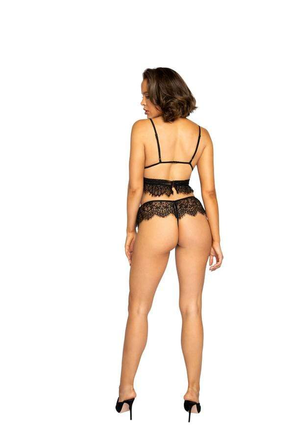 Roma Three Piece Two Tone Polka Dot Bra w/ See-Through Harness & Black Lace Panty Set Apparel & Accessories > Clothing > Underwear & Socks > Lingerie