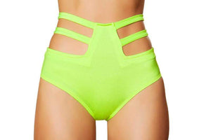Roma S/M / Green Lime Green Solid High-Waist Strapped Shorts (Purple, White, & Red also available) SHC-SH3321-GREEN-S/M-R Solid High-Waist Strapped Shorts Festival Dance EDM Roma 3321 Apparel & Accessories > Clothing > Underwear & Socks > Underwear
