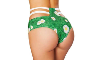 Roma Green Grass Print High-Waist Strapped Shorts Grass Print High-Waist Strapy Shorts Festival Rave EDM Dance Roma 3256 Apparel & Accessories > Costumes & Accessories > Costumes