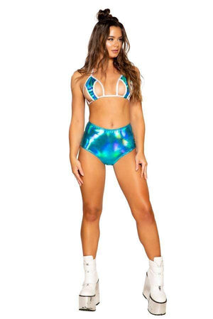 Roma Iridescent Blue High-Waist Shorts w/ Zipper Closure Blue High-Waist Shorts w/ Zipper Closure Festival Rave Dance Roma 3704 Apparel & Accessories > Costumes & Accessories > Costumes