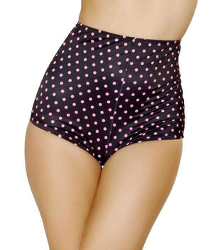 Roma M/L / Black Black/Pink Polka Dots High-Waist Shorts SHC-SH3090-BLACK-M/L-R High-Waist Shorts Festival Rave Dance Roma SH3090 Apparel & Accessories > Costumes & Accessories > Costumes