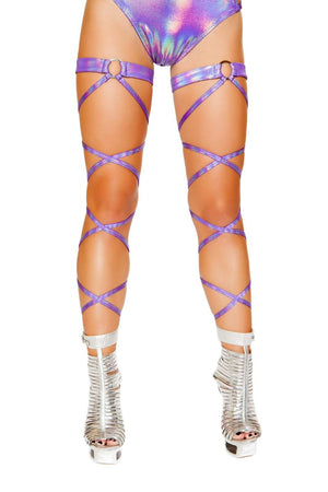 Roma ONE SIZE / PURPLE Black Shimmer Iridescent Garter Leg Wraps w/ O-Ring EDM Dance Rave (Many colors available) SHC-3493-PURPLE-R-3 Apparel & Accessories > Costumes & Accessories > Costumes