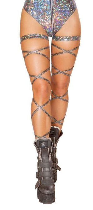 Roma ONE SIZE / Silver Silver Mirrored Iridescent Leg Wraps EDM Dance Rave (Red also available) SHC-3629-SILVER-R Apparel & Accessories > Costumes & Accessories > Costumes