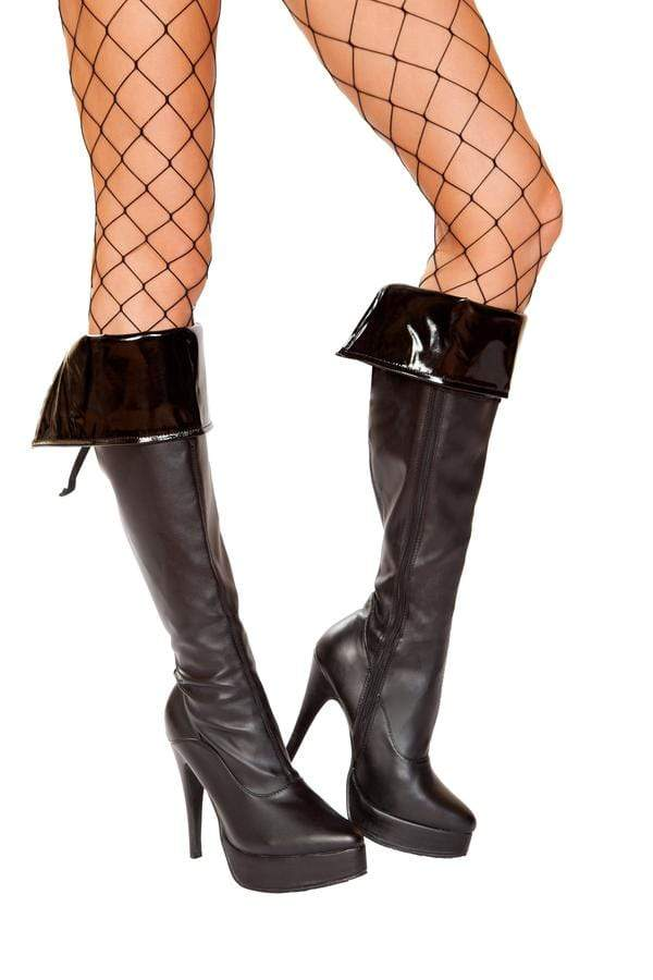 Roma OS / Black Pair of Vinyl Boot Cuffs SHC-4951-OS-R Apparel & Accessories > Costumes & Accessories > Costumes