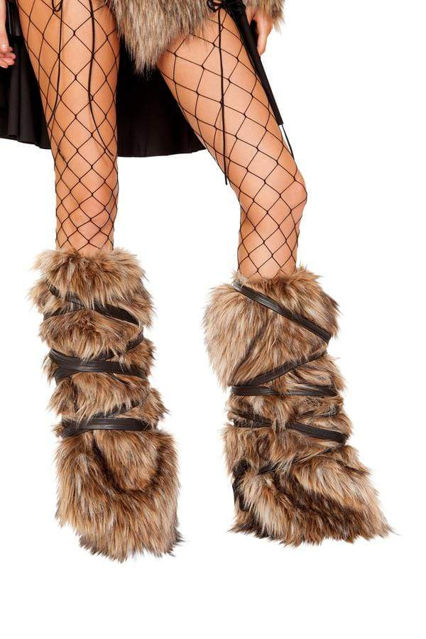 Roma OS / Brown Pair of Faux Fur Leg Warmers w/ Strap Detail SHC-4894-OS-R Apparel & Accessories > Costumes & Accessories > Costumes