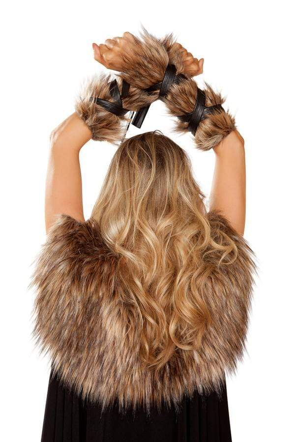 Roma OS / Brown Pair of Faux Fur Viking Arm Cuffs w/ Strap Detail SHC-4893-OS-R Apparel & Accessories > Costumes & Accessories > Costumes