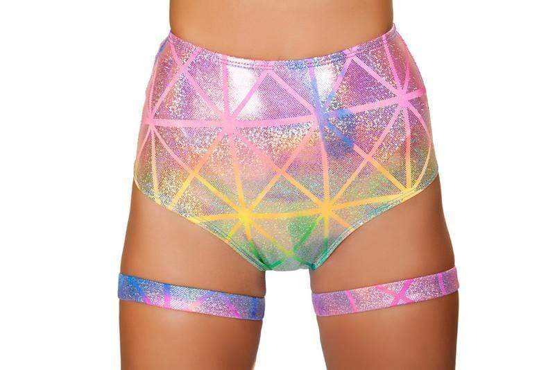 Roma S/M / Multi Colorful Laser High Waist Shorts SHC-3452-MULTI-S/M-R Colorful High Waist Shorts Festival EDM Dance Roma 3452 Apparel & Accessories > Costumes & Accessories > Costumes