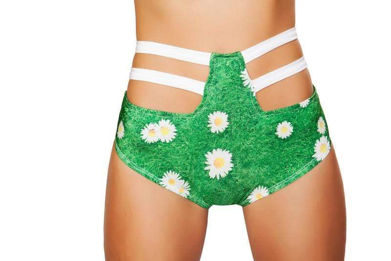 Roma S/M / Print Green Grass Print High-Waist Strapped Shorts SHC-SH3256-PRINT-S/M-R Grass Print High-Waist Strapy Shorts Festival Rave EDM Dance Roma 3256 Apparel & Accessories > Costumes & Accessories > Costumes