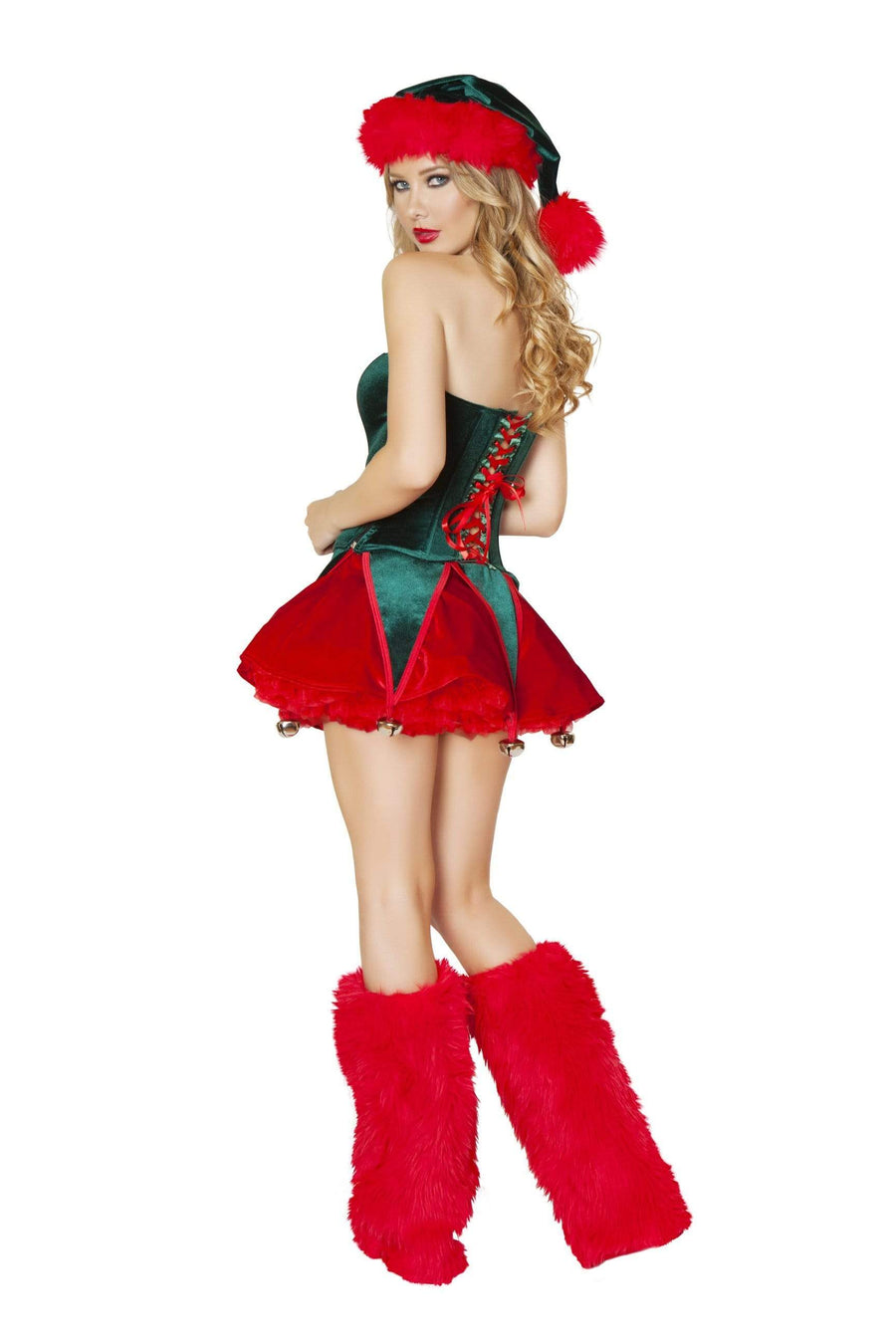 Roma S/M / Green Santa's Naughty Elf Green & Red Velvet Corset & Skirt Christmas Set SHC-C173-S/M-R Apparel & Accessories > Costumes & Accessories > Costumes