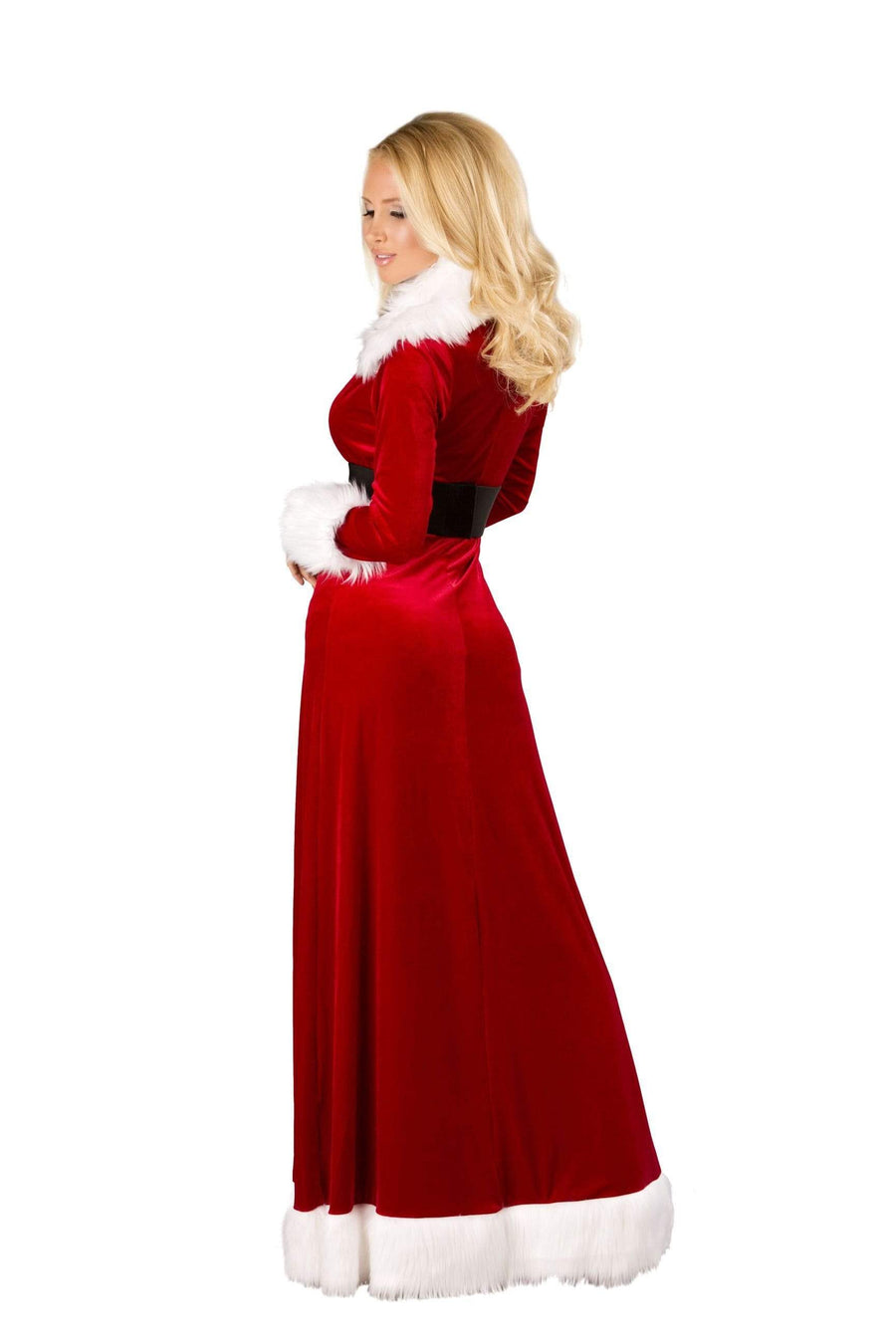 Roma S/M / Red Sexy Miss Claus Red Velvet Fur Trim Robe w/ Boy Short Christmas Set SHC-C170-S/M-R Apparel & Accessories > Costumes & Accessories > Costumes