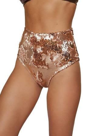 Roma Small / Brown Rose Gold Two-Tone High Waist Sequin Shorts SHC-3617-RG-S-R Two-Tone High Waist Sequin Shorts Festival Rave EDM Dance Roma 3617 Apparel & Accessories > Costumes & Accessories > Costumes