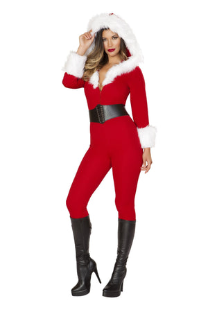 Roma Small / Red Santa Baby Red Jumpsuit w/ Fur Trim & Lace-Up Belt SHC-C189-S-R Apparel & Accessories > Costumes & Accessories > Costumes