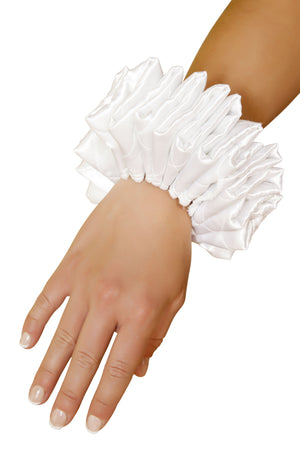Roma WHITE / One Size WHITE RUFFLED JESTER CUFFS SHC-4372-R Apparel & Accessories > Costumes & Accessories > Costumes