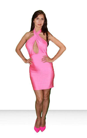 SoHot Clubwear Pink / Large Hot Pink Keyhole Halterneck Party Mini Dress SHC-65896-EB Apparel & Accessories > Clothing > Dresses