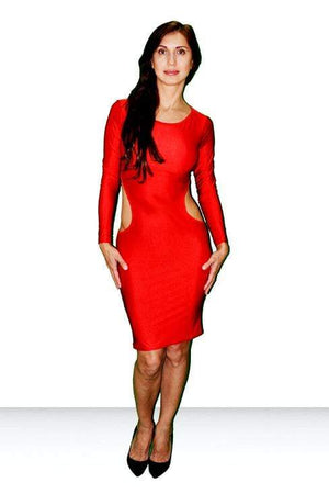 SoHot Clubwear Red / One Size Red Cut Out Side Long Sleeve Party Mini Dress SHC-66-A Apparel & Accessories > Clothing > Dresses