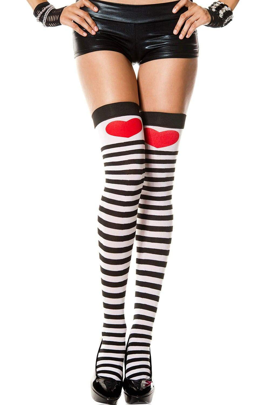 SoHot Clubwear Print / One Size Black & White Stripe w/ Red Heart Thigh High Stockings SHC-6315-LA Harlequin & Heart Thigh High Costume Stockings | Leg Avenue 6315 Apparel & Accessories > Clothing > Pants