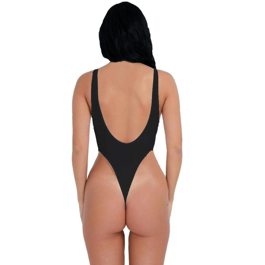 SoHot Clubwear Black / One Size Black Sheer Extreme High Thigh Cut Thong Bodysuit Lingerie Dancewear (White also available) SHC-10032869-BLK-EB Black Sheer Extreme High Thigh Cut Thong Bodysuit Lingerie Dancewear (White also available) Apparel & Accessories > Clothing > Underwear & Socks > Lingerie