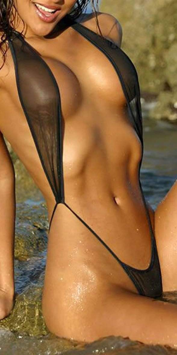 SoHot Swimwear One Size / Black Sheer Black Extreme Micro G-String Thong One Piece Swimsuit Swimwear SHS-5455 Apparel & Accessories > Clothing > Underwear & Socks > Lingerie