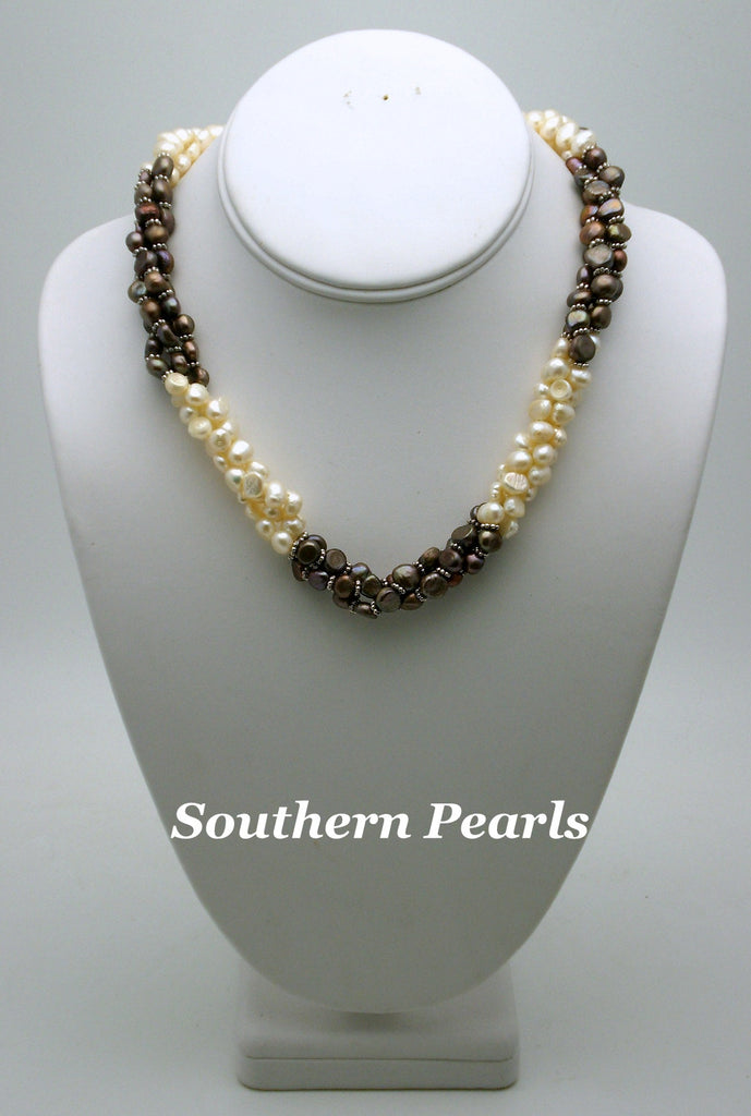 Black & White Freshwater Pearl Twist Necklace