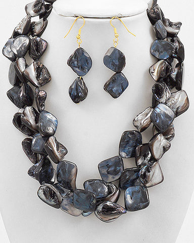 Black Chunky Shell Necklace Set