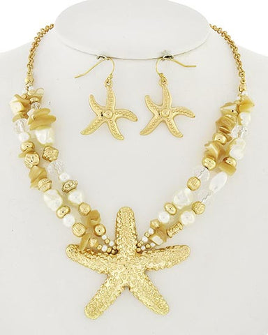 Goldtone Simulated Pearl and Bead Necklace Set
