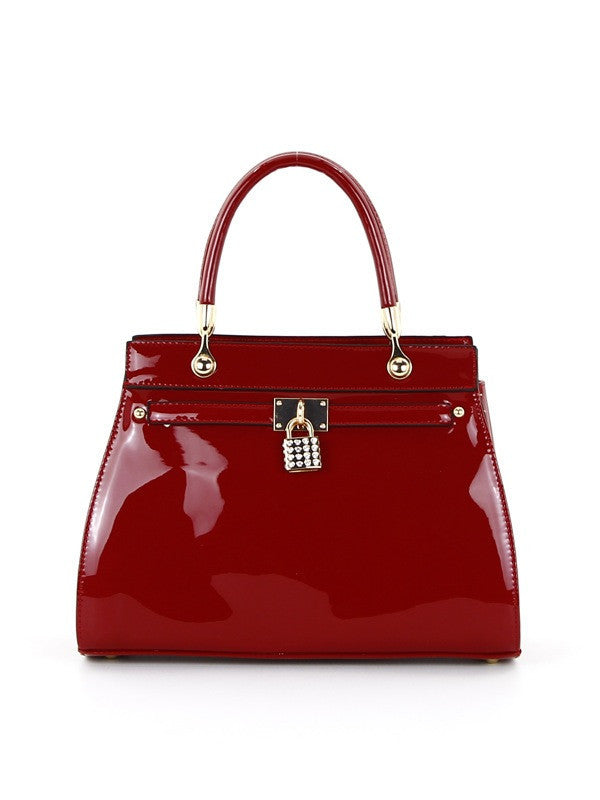 Red Patent Satchel with Lock