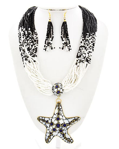 Black & White Multi Bead Starfish Pendant Set