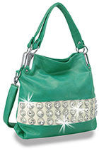 Turquoise Gem Banded Tote
