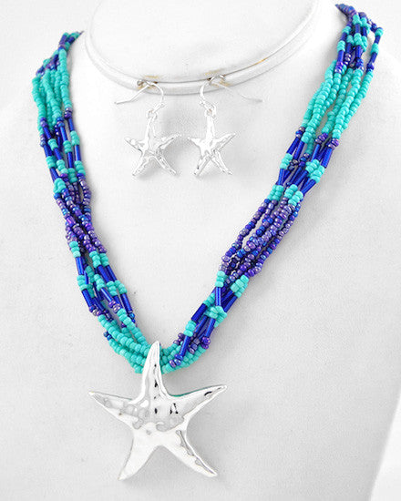 Shades of Blue Seed Bead Multi Strand Silver Starfish Pendant Set
