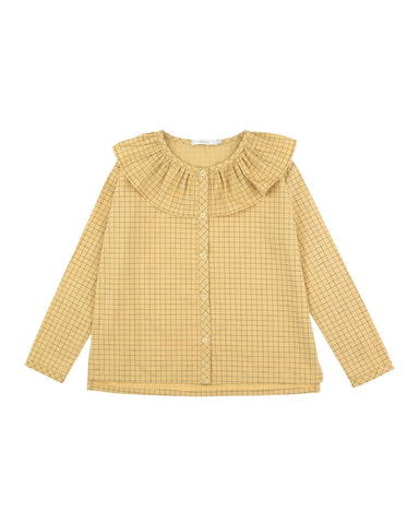Grid Frilled Collar Blouse