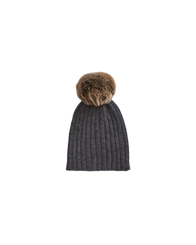Rabbit Fur Pompom Hat