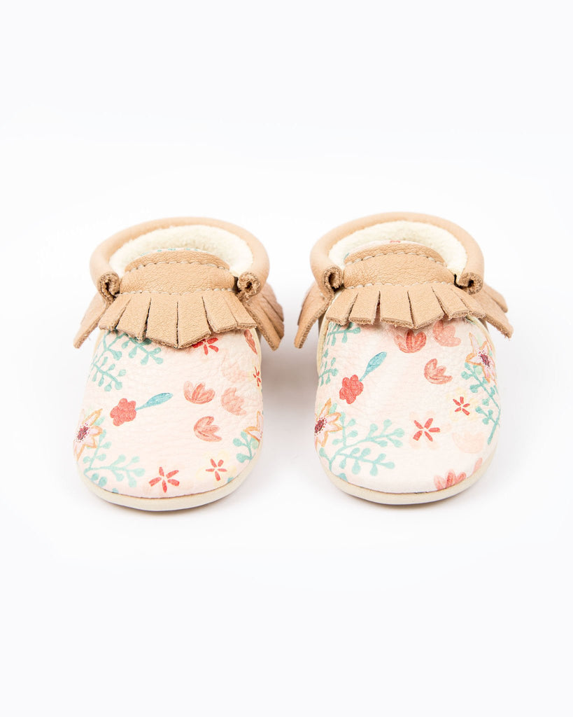 Pink Flowers Moccasins