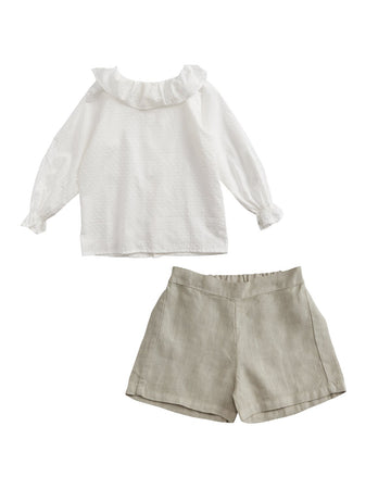Frill Collar Shorts Set
