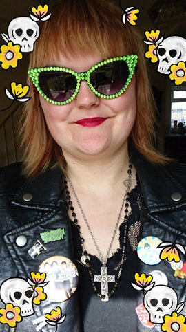 Lorna wearing our 'LIME' Neon Green and Black Cat Eye Sunglasses