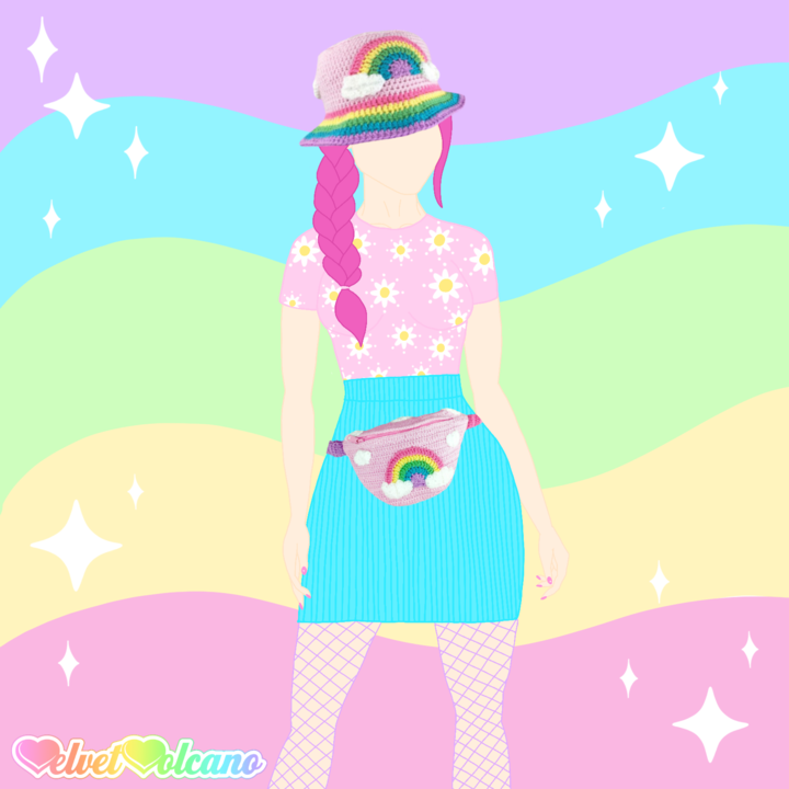 Fashion sketch style illustration of a woman with pink hair in a plait that is hanging over her right shoulder. She is wearing a pale pink tshirt with white and yellow daisy print, a turquoise high waisted mini skirt and a VelvetVolcano Pastel Rainbow Cloud Bucket Hat and matching Bum Bag. The background is a wiggly pastel rainbow with white sparkle doodles. In the bottom left corner is the pastel rainbow gradient VelvetVolcano logo